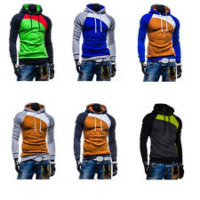 1Pcs Mens Fight Color Outwear  Cotton Sweatshirt  Tops Leisure  Warm  Hooded