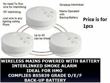 RF Link Wireless Smoke heat Alarm Radio Interlinked Battery HMO LET BS5839 fire