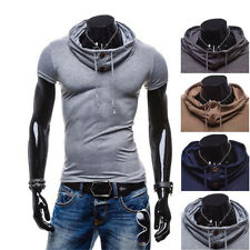 1Pcs Muscle Hoodie Short Sleeve V Neck Mens Casual T-Shirt Polo Tops Leisure