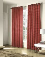 SAVOY RED GOLD EMBROIDERED CHAIN LINK LINED RING TOP CURTAINS #ZTIR AS
