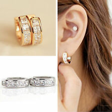Women  Mens Crystal Stainless Steel Ear Hoop Stud Huggies Earrings Jewelry