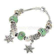 MagiDeal Snowflake Pendant Metal Coloured Glaze Beads Crystal Bangle Bracelet