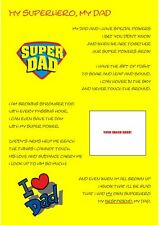 Personalised Dad Poem a4 - Ideal for Fathers Day/Birthday/Xmas