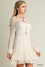 Umgee BabyDoll BoHo Lace Knit Beige Double Layer Skirt Mini Dress Tunic Top Med