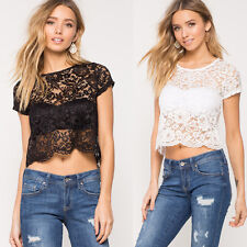 Fashion Womens Sexy Perspective Short Sleeve Tops Casual Blouse Lace T-Shirt Hot