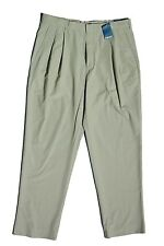 NEW Lands End Poplin Pleated Dress Casual Pants Men Chinos Regular Fit  NWT