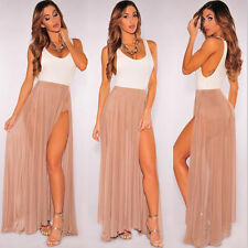 Vintage Women Summer Boho Chiffon Pleated Long Maxi Dress Elastic Waist Skirt