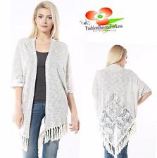 Bohemian Gypsy Hippy Boho Open Front Ivory Tweed Lace Tassel Cardigan Top S M L