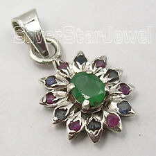 925 Pure Silver Pendant, MULTISTONE, EMERALD, RUBY Gemstone Variation Buy Choice