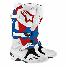 NEW Alpinestars TECH 10 BOOTS WHITE/RED/BLUE [FAST SHIPPING]
