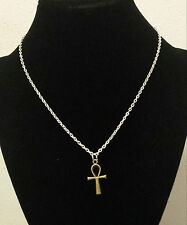 Egyptian Ankh cross antique bronze color with silver color chain usa shipper