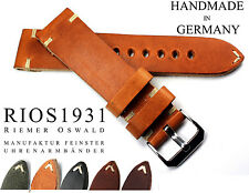 LEATHER BAND 22mm RIOS1931 Vintage Retro Look sturdy Strap Germany Watch