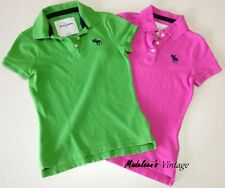 ABERCROMBIE Kids Girls Green & Pink Polos T-Shirts Tops LOT OF 2 Small OR Large