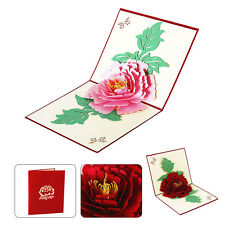 Hot 3D Pop Up Greeting Cards Peony Card For Mothers' Day Gift Blessing Kirigami