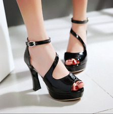 Womens Ankle Straps Open Toe Sandals Chunky Heels Platform Shoes Patent Leather