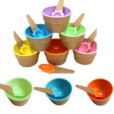 1Pcs Dessert Couples Eco-Friendly Ice Cream Container Cup Kids Bowl With Spoon