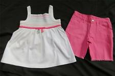 NWT Gymboree Popsicle Party White Smocked Tank Top Pink Fray Cuff Shorts 4 4T