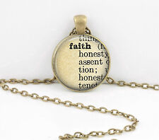 Faith Dictionary Word Pendant Necklace Jewelry or Key Ring