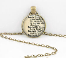 Teacher Gift Dictionary Word Pendant Necklace Jewelry or Key Ring