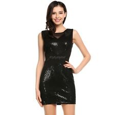 Women Sexy Sleeveless Sequin Embellished Evening Party Club Pencil Mini 35DI