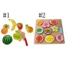 8/11Pcs Kids Children Role Play Kitchen Wooden Fruit Food Cutting Toy Set