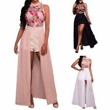 Sexy Women Sleeveless Flower Embroidery Chiffon Jumpsuit Romper Party Maxi Dress