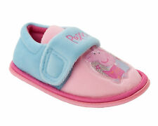 Girls PEPPA PIG Touch Fastening Pink Blue Slippers NEW Infants Size 7,8,9,10