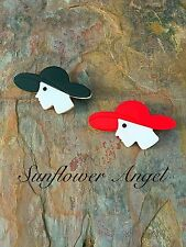Art deco style.  AcryLic Brooch Pin, lady brooch with floppy hat. 2 colours.