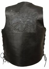 MEN'S MOTORCYCLE BLACK LEATHER VEST EAGLE HEAD & STARS EMBROIDERED W/SIDE LACES