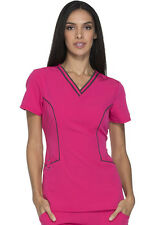 Dickies Xtreme Stretch V-Neck Top DK715 HPKZ Hot Pink FREE SHIPPING!