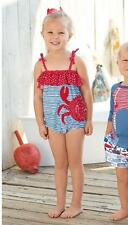 Mud Pie Boathouse Baby Girls Crab 1 One-Piece Swimsuit Red White Blue 1122124