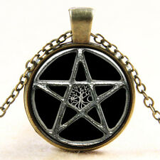 Witchcraft Pentacle Pentagram Glass Photo Art Pendant Wiccan Pagan Necklace