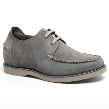 "Men's Elevator Shoes Suede Driving Boat Shoes 2.36"" Taller Lifting Shoes - Gray"
