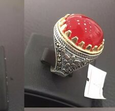 STERLING 925 SILVER HANDMADE MENS JEWELRY & RED AGATE AQEEQ MENS RING