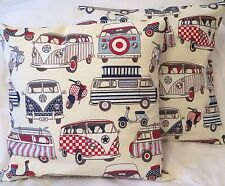 Pair of Camper van VW Handmade Cushion Cover/Pillow Case Reds & Blues 16x16 inch