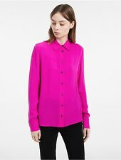 calvin klein womens platinum spring silk top shirt