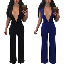 Women Ladies Classic Deep V-neck Jumpsuit Sexy Party Playsuit Evening Clubwear
