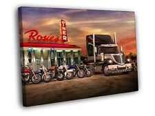 Rosie's Diner Truck Bikes Sunset Neon Lights Art Print CANVAS UK