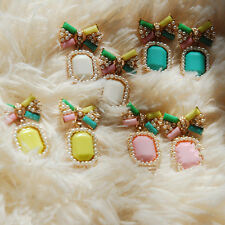 Stud New 1Pair Bow Gem Color Earrings Stud Earring Elegant Pearl Fashion Candy