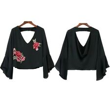 New Short Embroidery Ruffle Blouse Summer Casual Fashion Blouse V Neck Chiffon