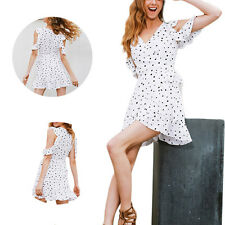Irregular Chic chiffon Vintage Dress Print Summer Cold shoulder polkadot Women