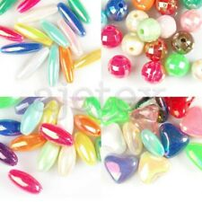 15/35/40/50pcs Acrylic AB Plated Beads 8/12/20/25mm Oval/Round/Heart Assorted