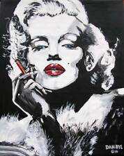 Aceo Signed Limited Print Original Art Painting DAN BYL Marilyn Monroe 2.5x3.5""