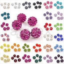 5pcs Crystal Clay Pave Rhinestone Disco Ball Beads Jewelry DIY 10mm 37 Colors