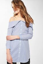 TOPSHOP *Stripe Bardot Shirt Dress* SIZE_UK6_8_10_12_14_16