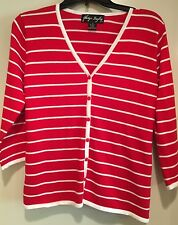 Red and White Striped Button Down Sweater Top Size Medium