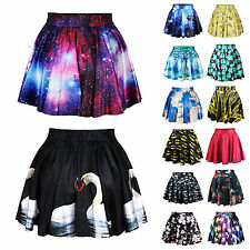 New Women High Waist Mini Skirt Digital Print Galaxy Short Pleated Skater Dress