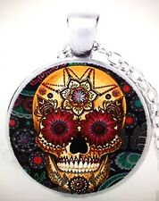 Mexican Style Sugar Skull Pendant/Day Of The Dead Necklace/Silver Colour Chain
