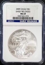 2009 Uncirculated Silver Eagle, certified NGC Early Releases, MS 69! NO RESERVE!