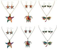 Animal Charm Pendant Silver Golden Necklace Enamel Matching Earring Jewelry Sets